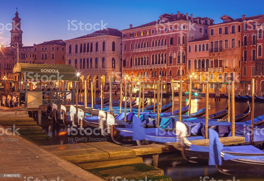 the Grand Canal in Venice with docked gondolas stock photo