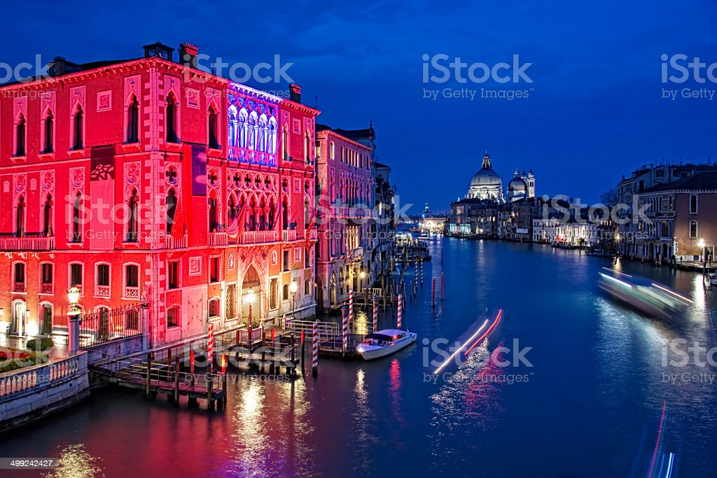 The Grand Canal of Venice by night, Italy royalty-free stock photo