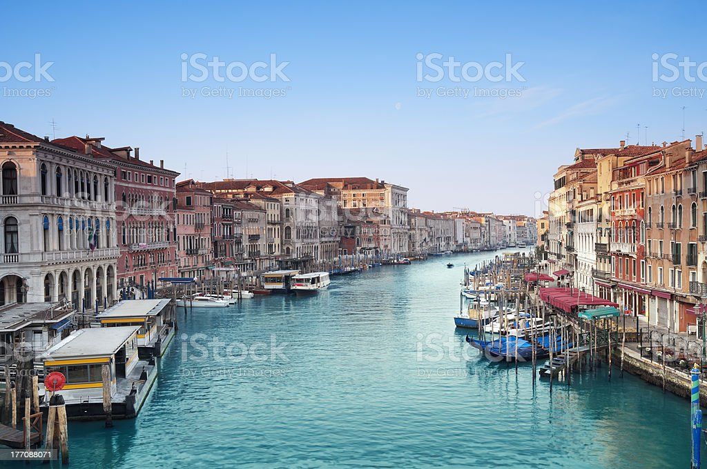 The Grand Canal surrounded by buildings in Italy stock photo