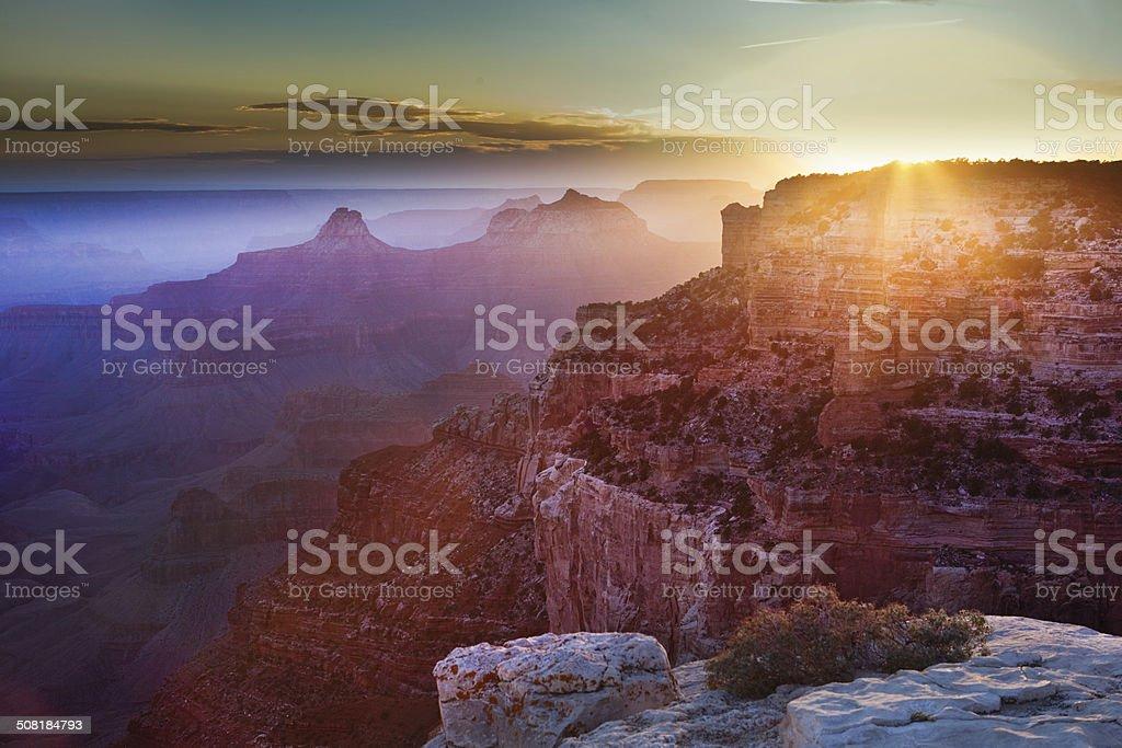 The Grand Canyon Sunrise Scenic Landscape stock photo