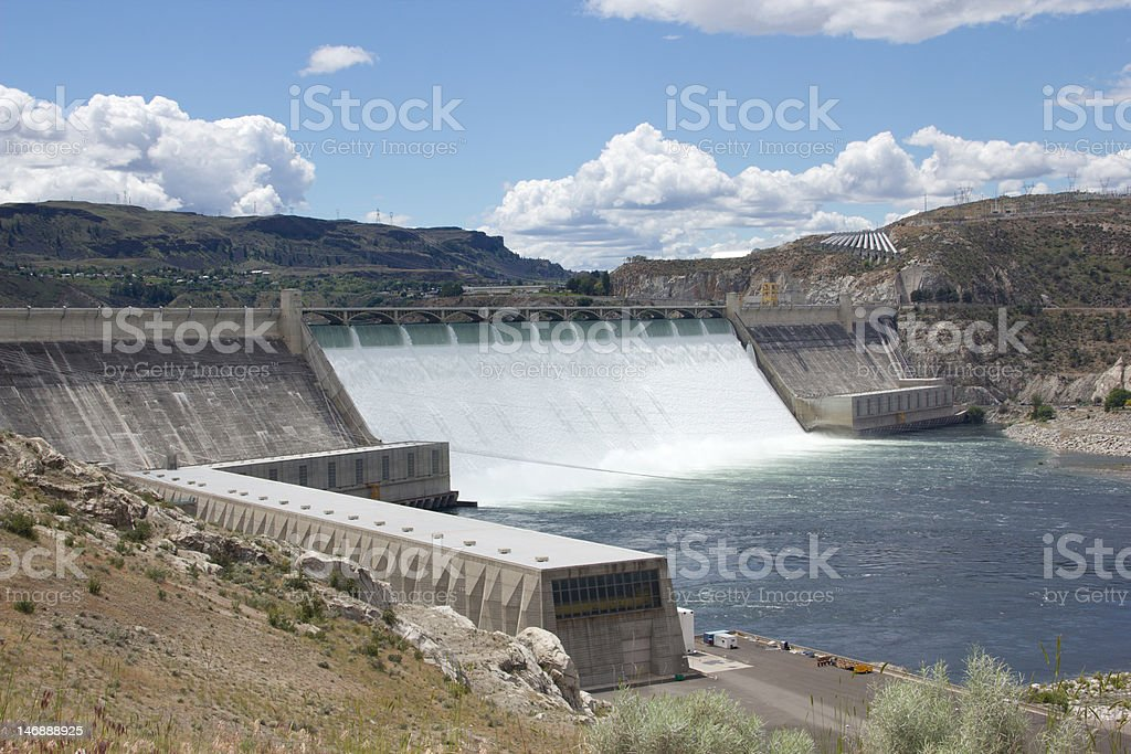 The Grand Coulee Dam Wide Angle stock photo