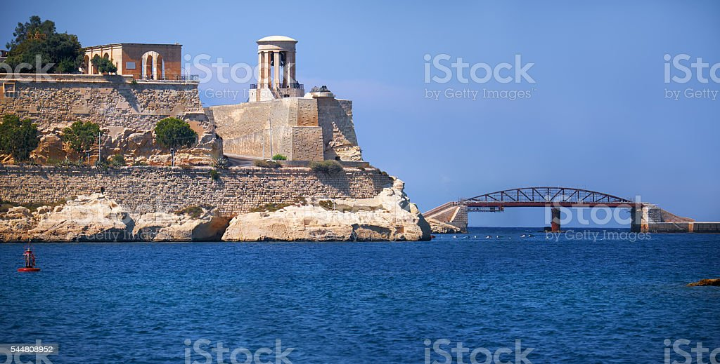 The Grand Harbour with St. Christopher Bastion and stock photo
