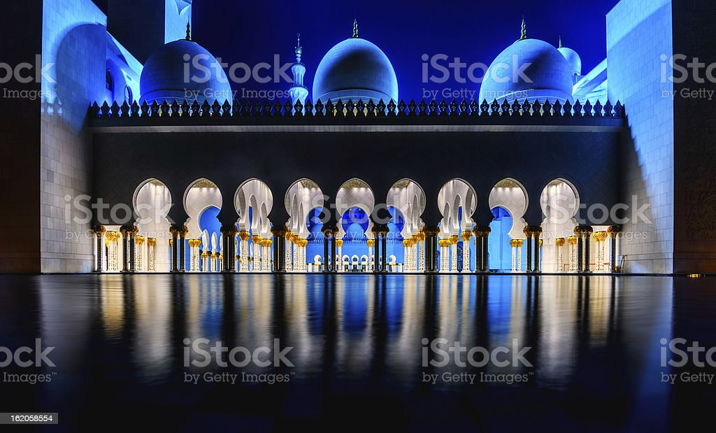The Grand Mosque in Abu Dhabi (UAE) royalty-free stock photo