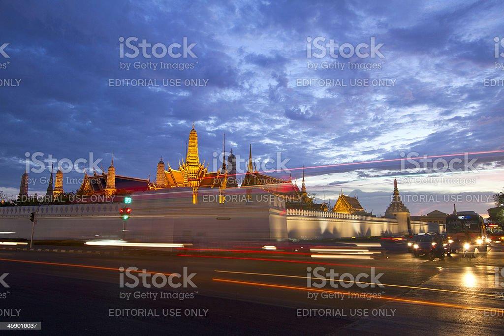 The Grand Palace in Bangkok at dusk royalty-free stock photo