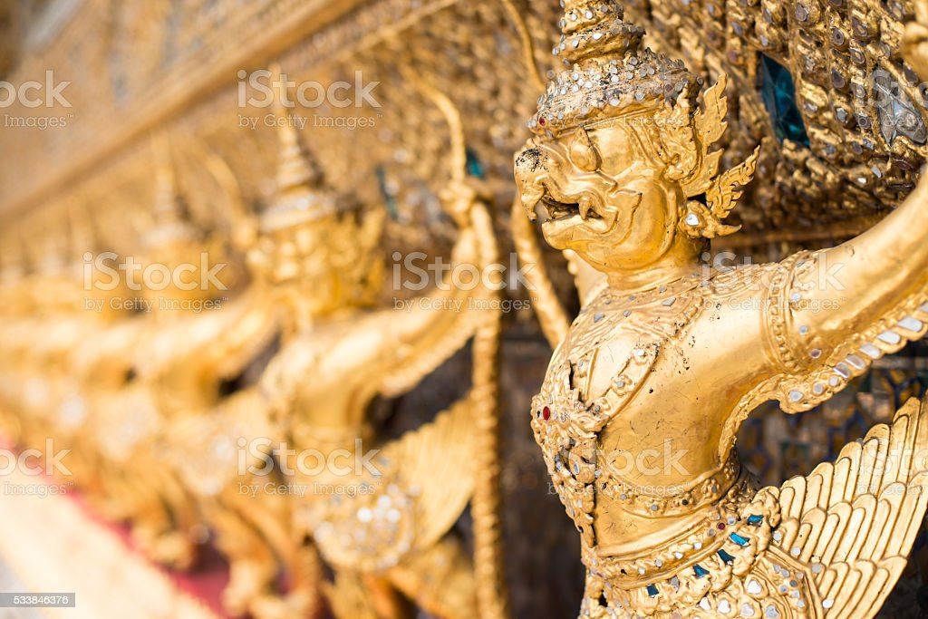 The Grand Palace. Temple of the Emerald Buddha. Gold ornamental stock photo