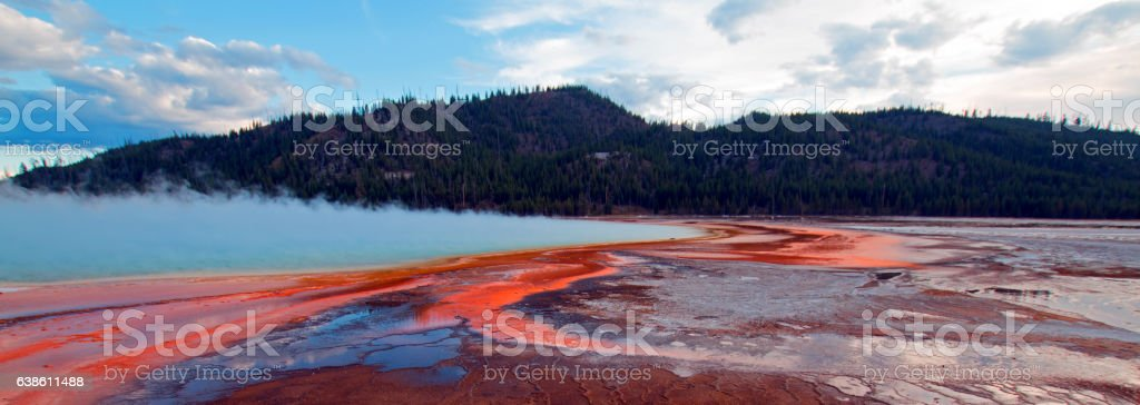 The Grand Prismatic Spring at sunset stock photo