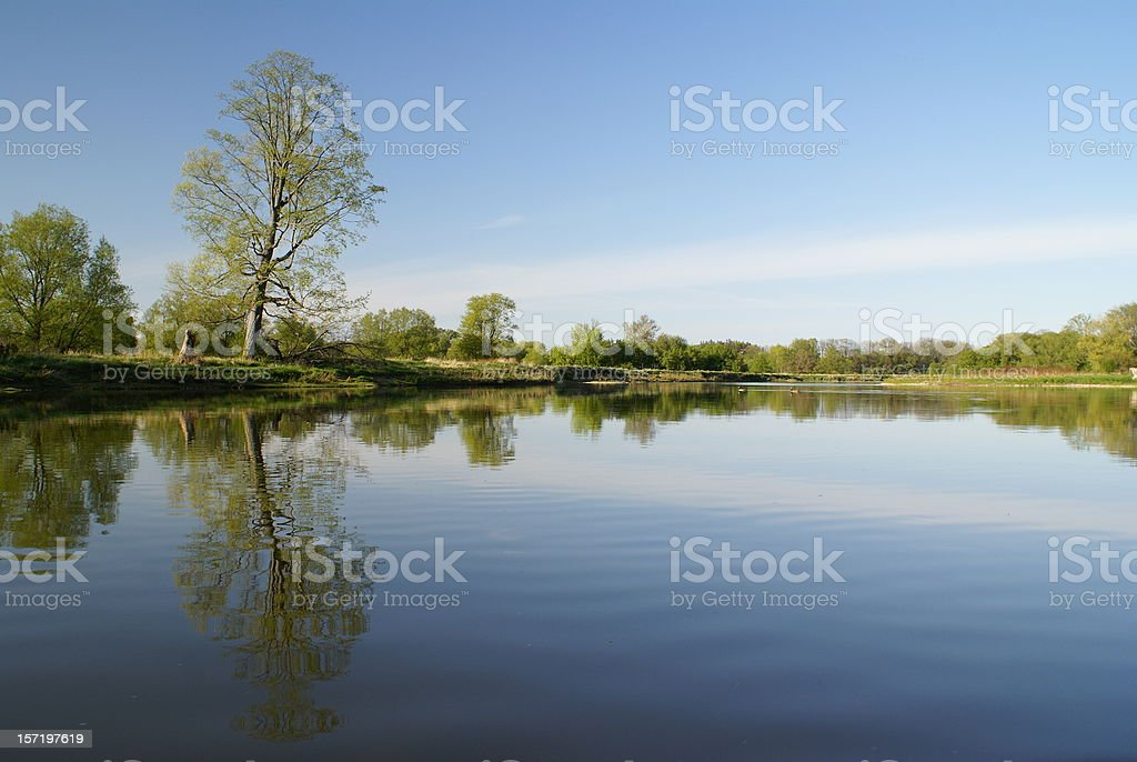 The Grand River, Kitchener, Ontario stock photo