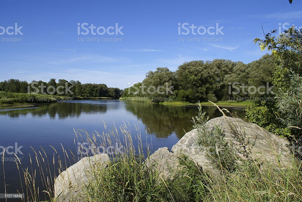 The Grand River, Waterloo, Ontario stock photo