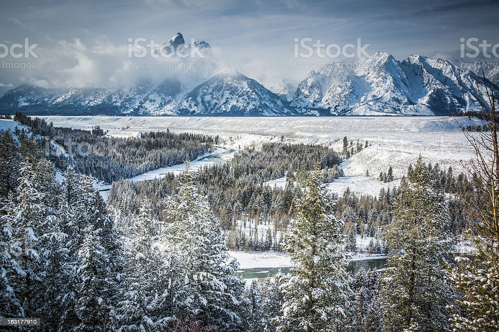 The Grand Tetons and Snake River in Winter royalty-free stock photo