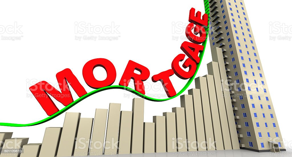 The graph of growth of mortgage rates stock photo
