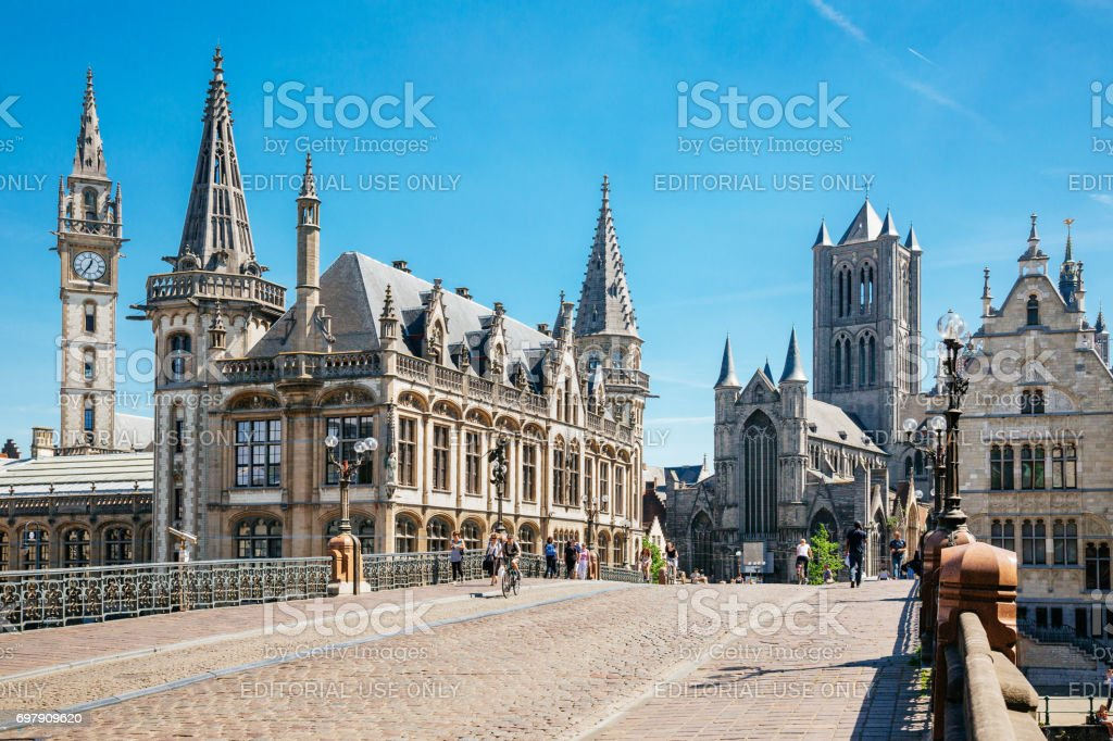 The Graslei and St Nicholas Church in Ghent stock photo