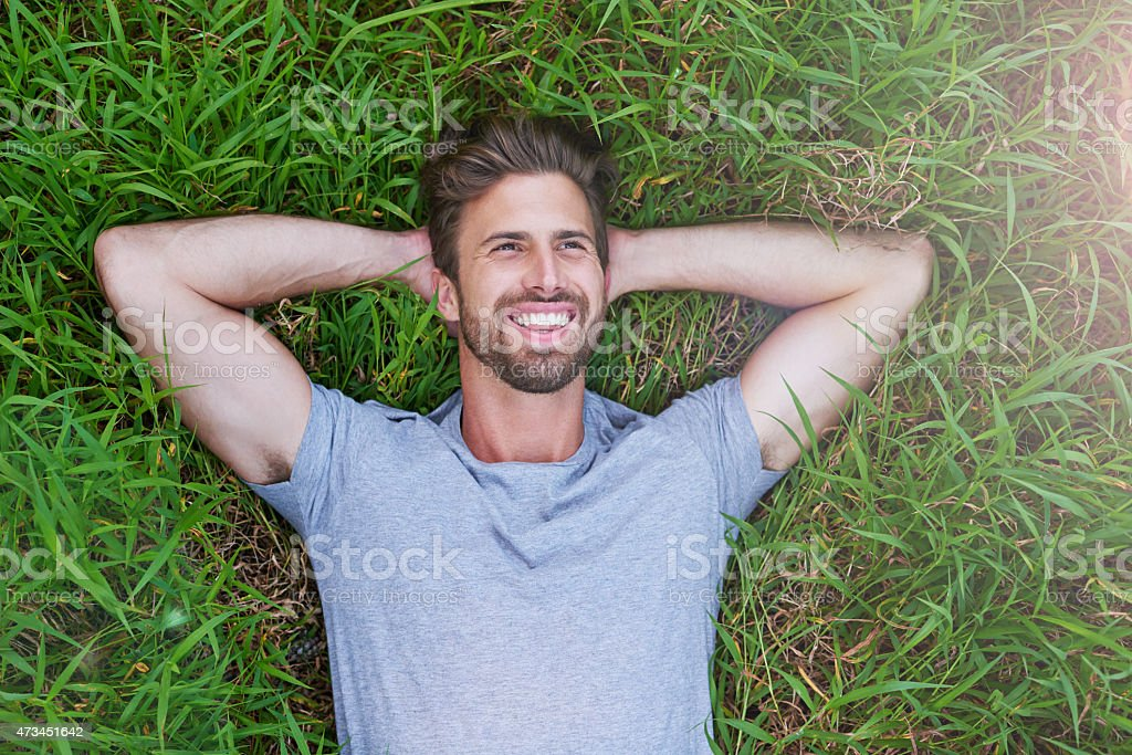The grass is greener on the other side stock photo