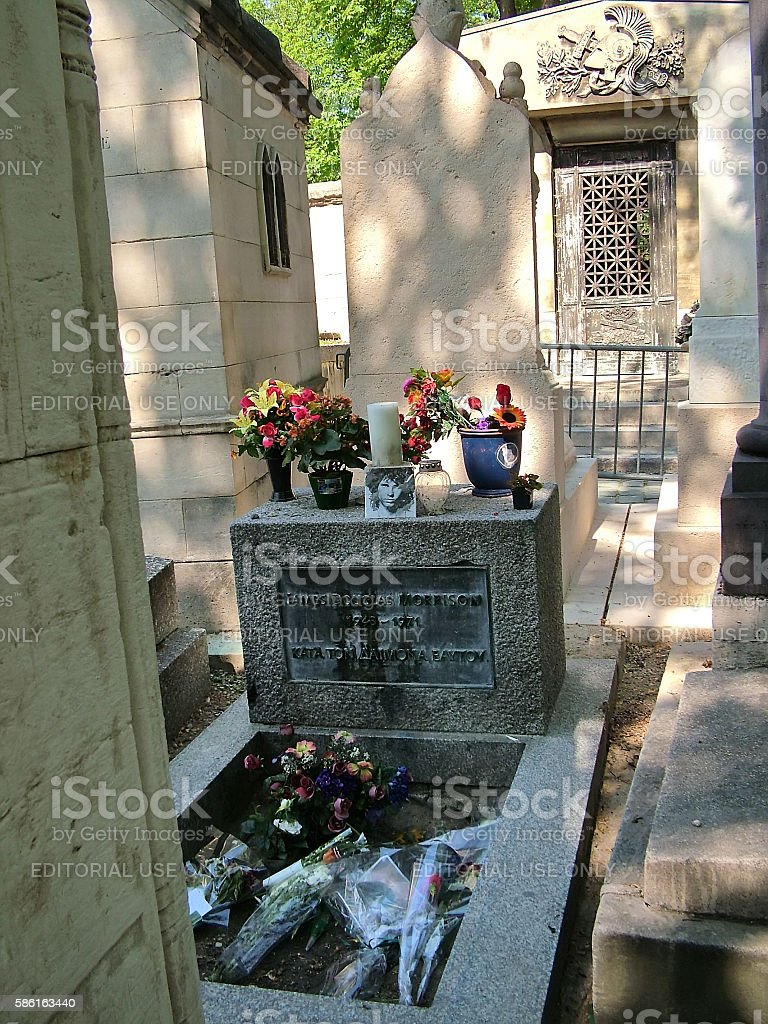 The grave of Jim Morrison at the Pere Lachaise stock photo