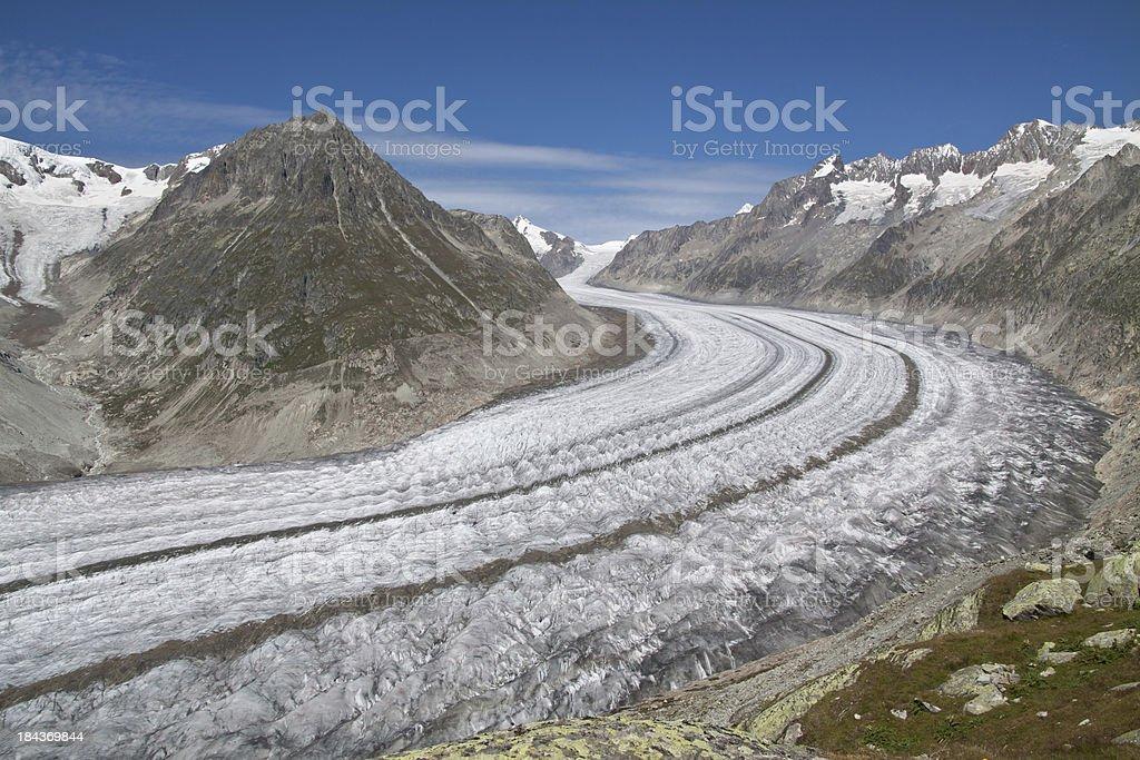The Great Aletsch Glacier, Wallis, Switzerland stock photo