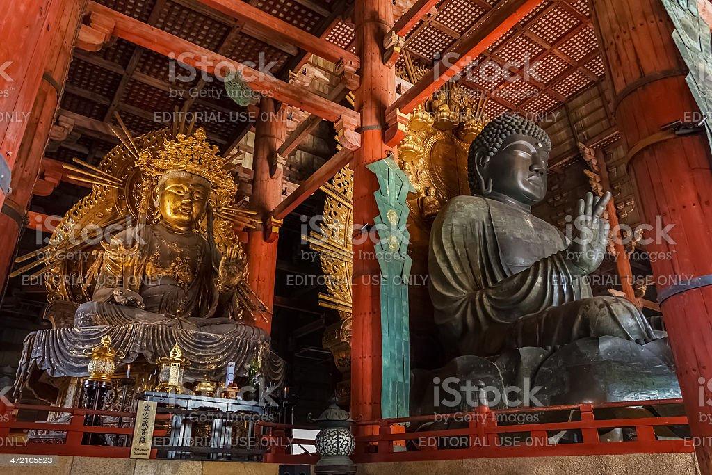 The Great Buddha and kokuzo bodhisattva at Todaiji Temple stock photo