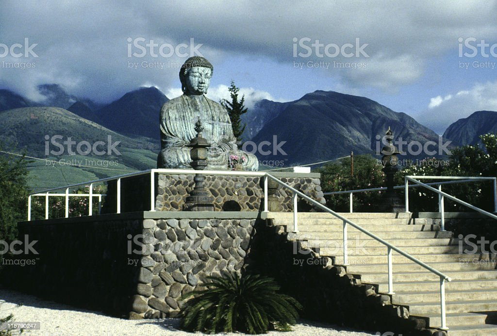The Great Buddha statue at Lahaina, Hawaiian Islands stock photo