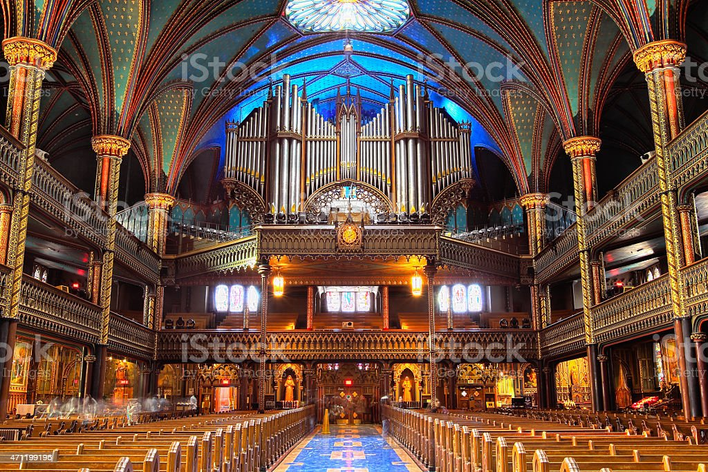 The Great Casavant Organ at Notre Dame Basilica, Montreal stock photo