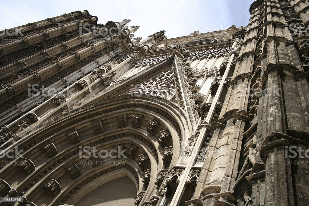 The great cathedral in Sevilla royalty-free stock photo