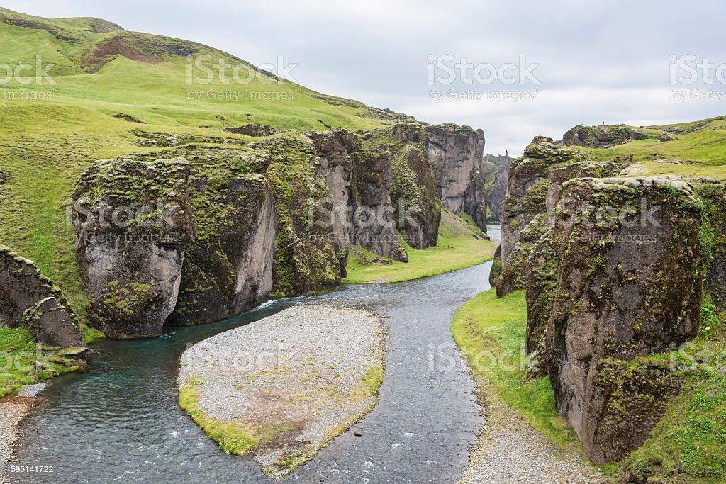 The great Fjadrargljufur gorge. Iceland. stock photo