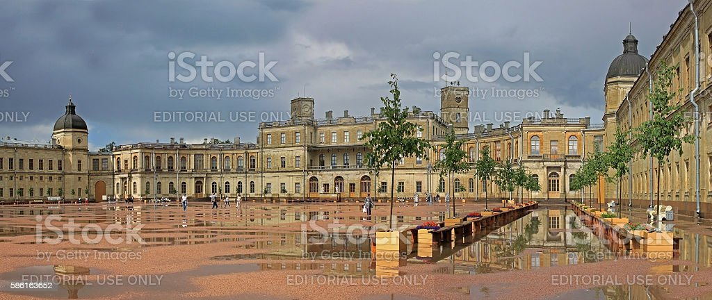 The Great Gatchina Palace  in the suburbs of St. Petersburg. Russia stock photo