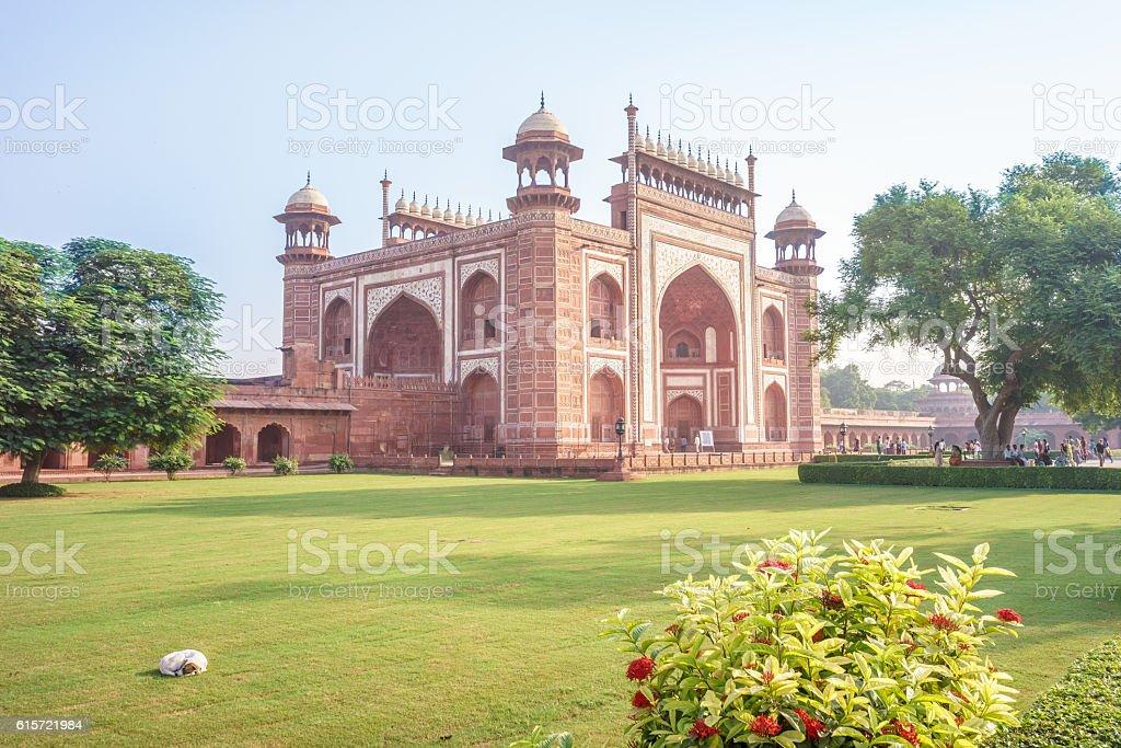 The great gate to Taj Mahal stock photo