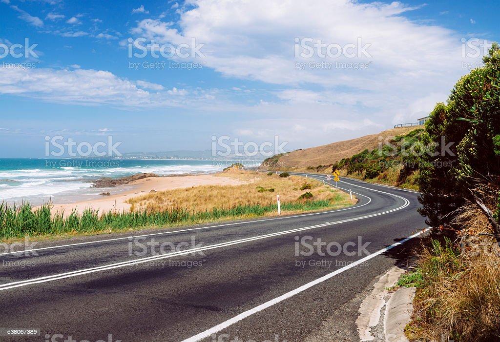 The Great Ocean Road near Apollo Bay. Victoria State, Australia stock photo