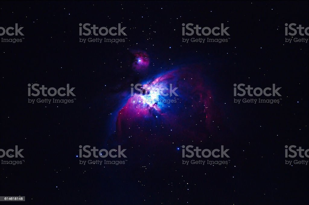 the Great Orion Nebula, M42, NGC1976 on dark night stock photo