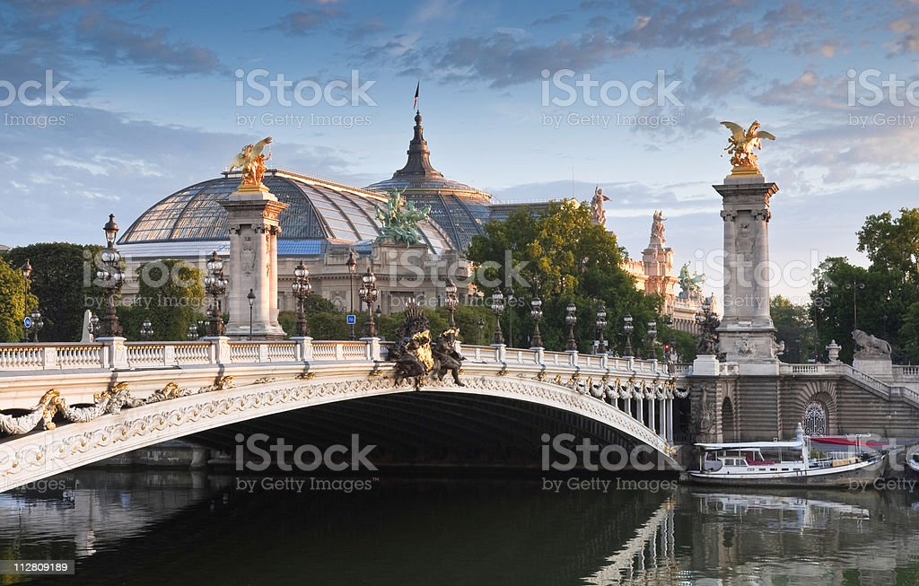 The Great Pont Alexandre III and Grand Palais in Paris stock photo
