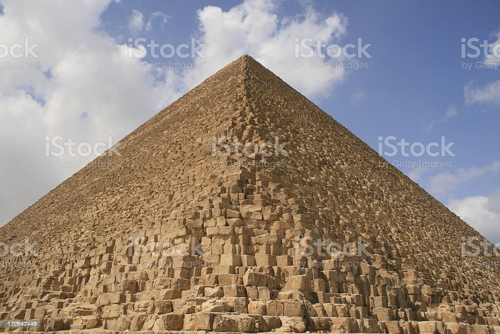 The Great Pyramid of Giza looking up from its base royalty-free stock photo