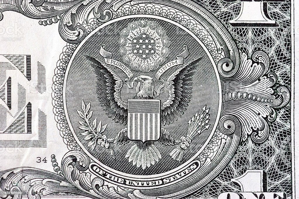 The Great Seal on back of one dollar bill royalty-free stock photo