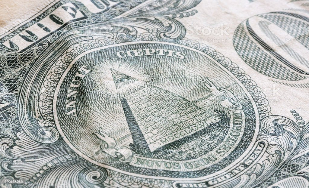The Great Seal on the US One Dollar Bill stock photo