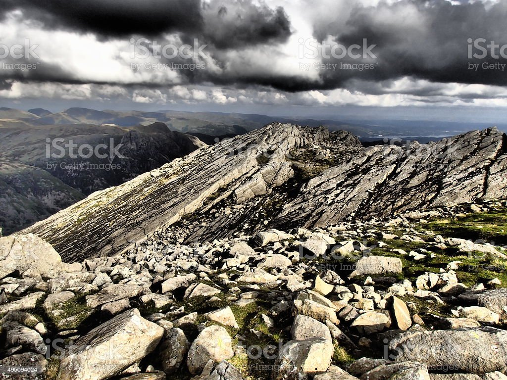 The Great Slab on Bowfell Lake District stock photo