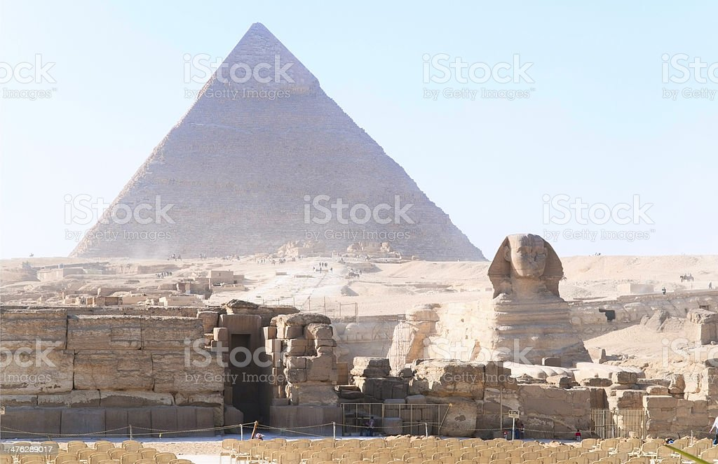 the Great Sphinx and Khufu pyramid of Giza, Egypt royalty-free stock photo