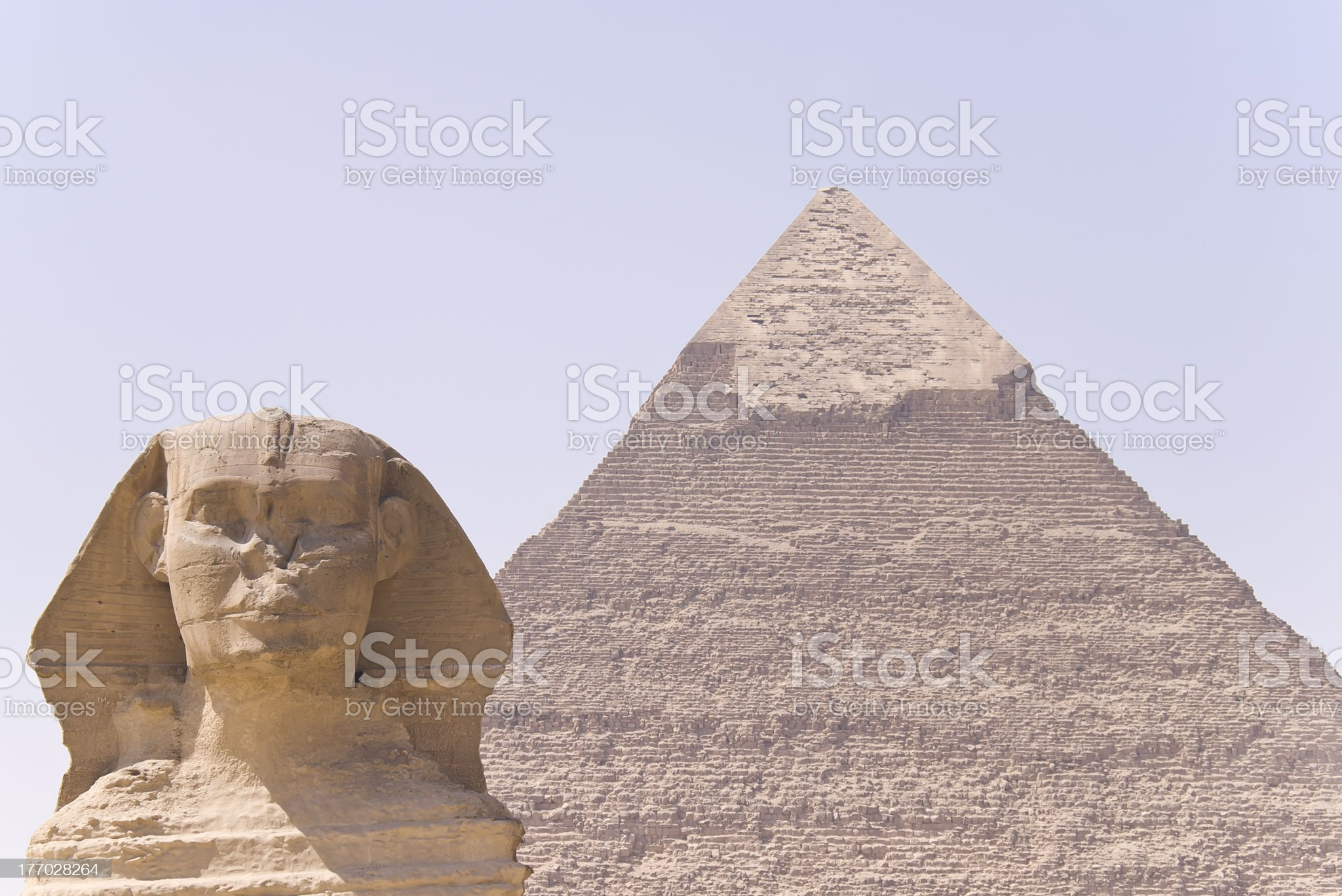 The Great Sphinx and Pyramid II royalty-free stock photo
