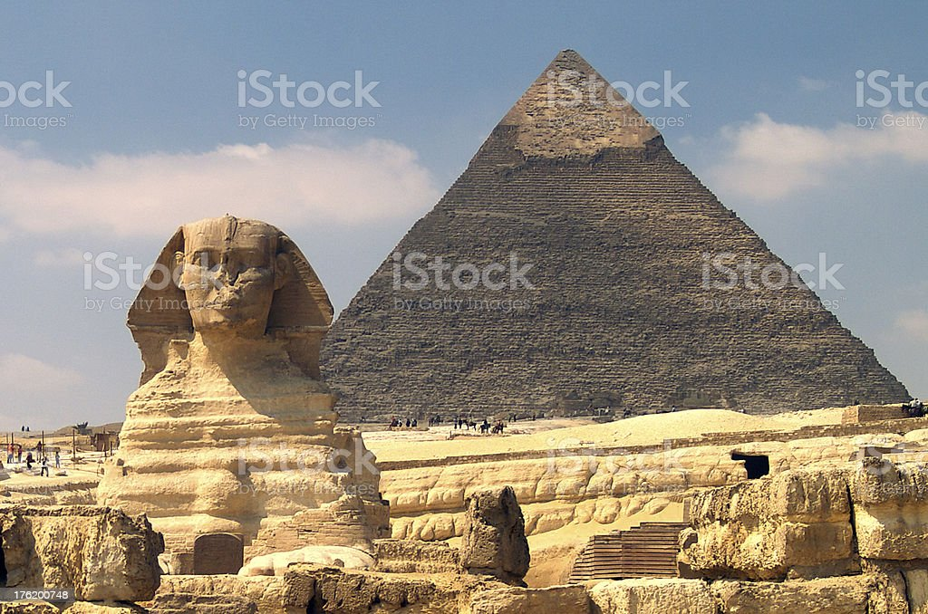 The Great Sphinx and Pyramid of Khafre - Giza stock photo