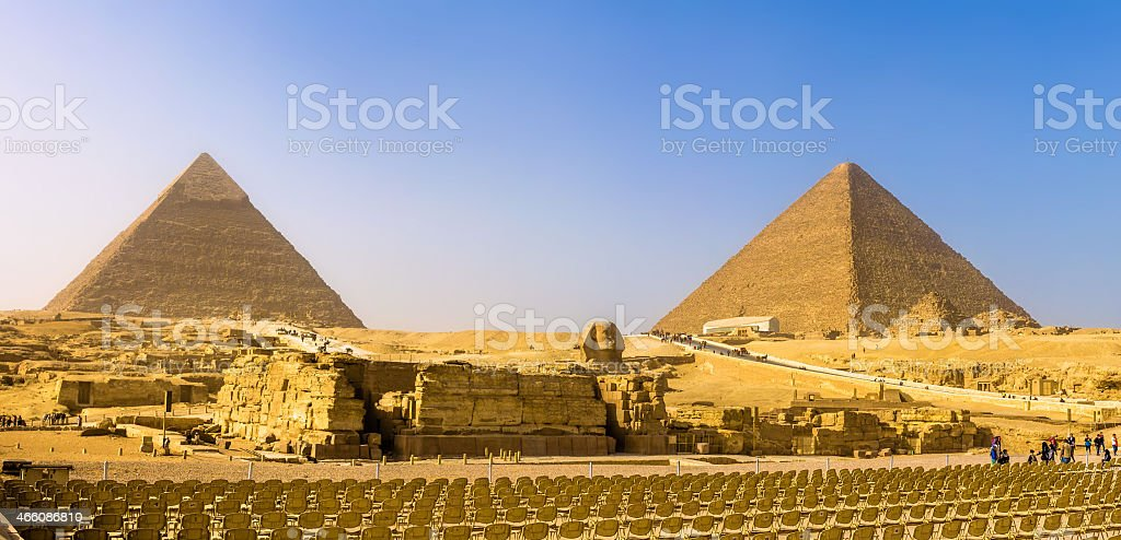 The Great Sphinx and the Pyramids of Giza - Egypt stock photo