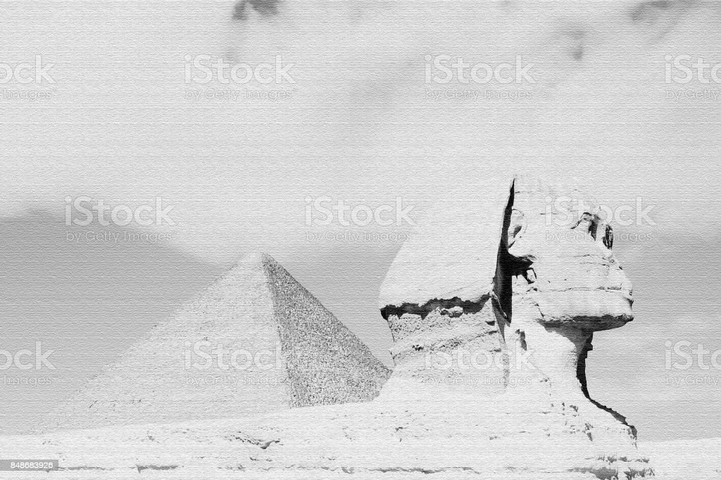 The Great Sphinx & Khufu Pyramid stock photo