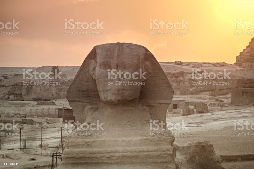 The Great Sphinx of Giza on a sunset background, Egypt stock photo