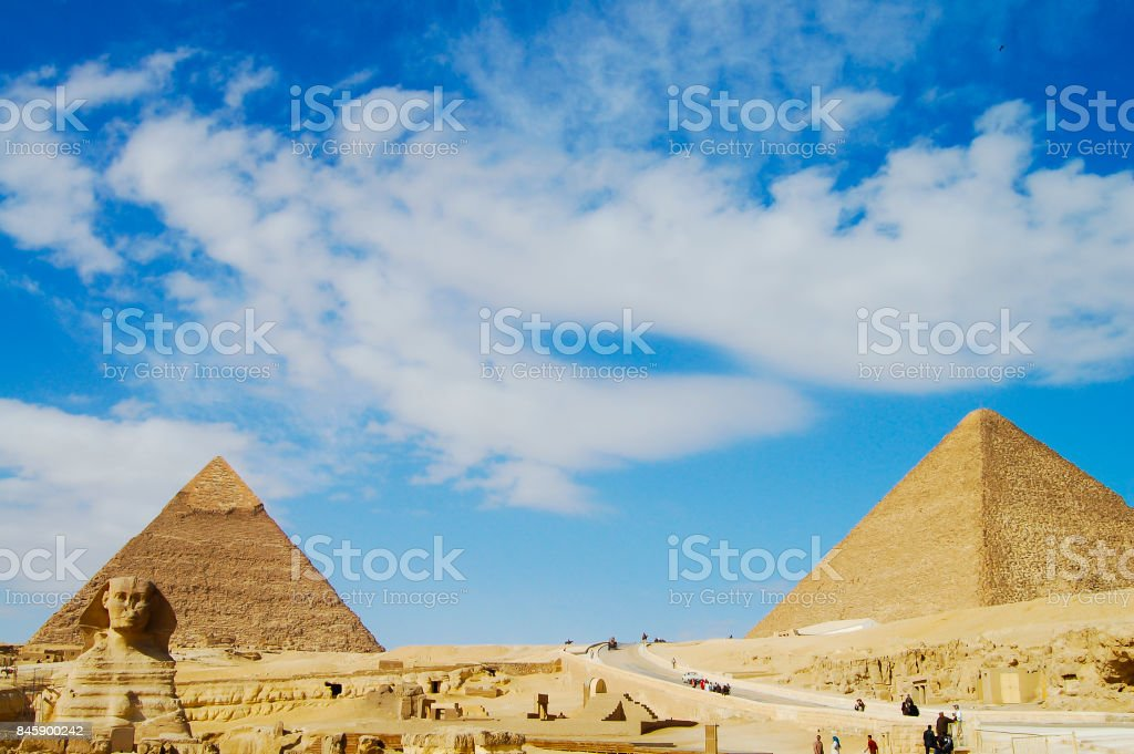 The Great Sphinx with Khafre & Khufu Pyramids stock photo