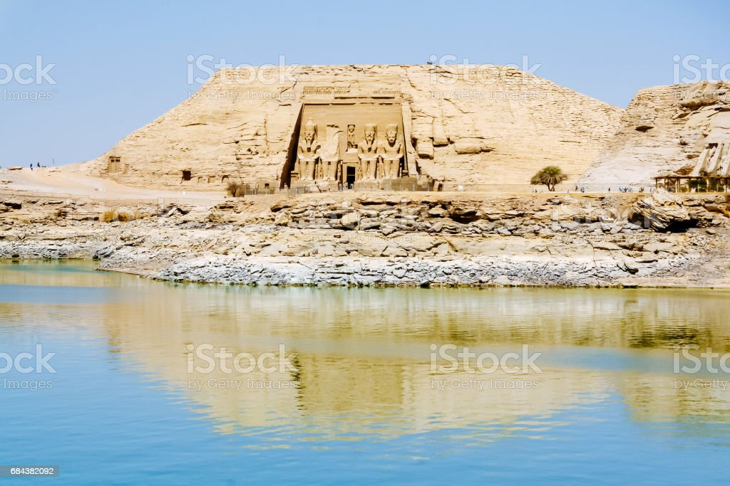 The Great Temple of Ramesses II view from Lake Nasser, Abu Simbel, Egypt stock photo