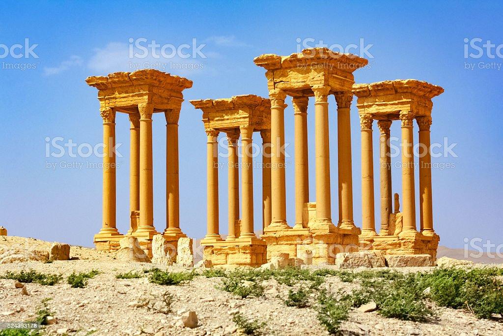 The Great Tetrapylon at Palmyra Syria stock photo