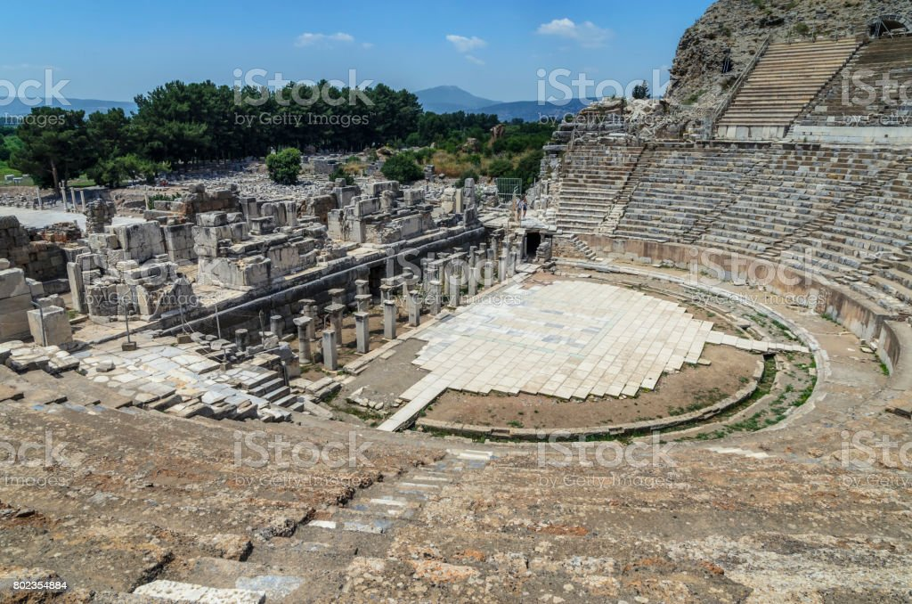 The Great Theater at Ephesus, Turkey. Ephesus was an ancient Greek city, and later a major Roman city and one of the largest cities in the Mediterranean world. stock photo