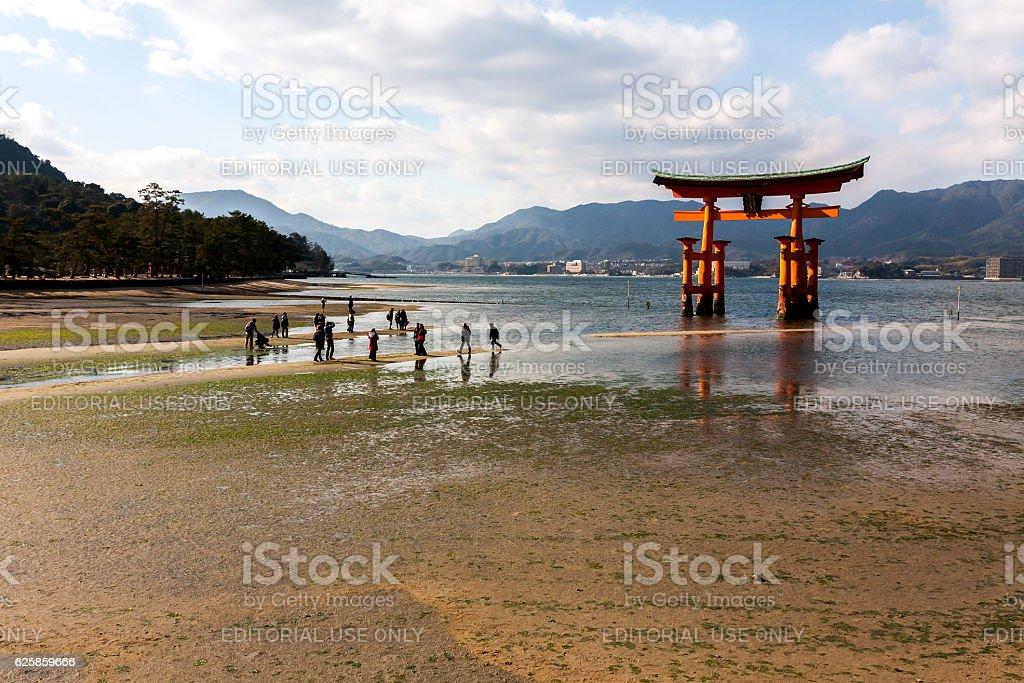 The Great Torii of Itsukushima shrine. Miyajima, Japan stock photo
