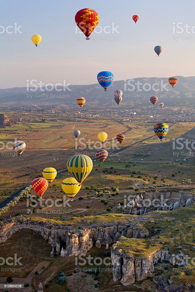 The great tourist attraction of Cappadocia - balloon flight. stock photo