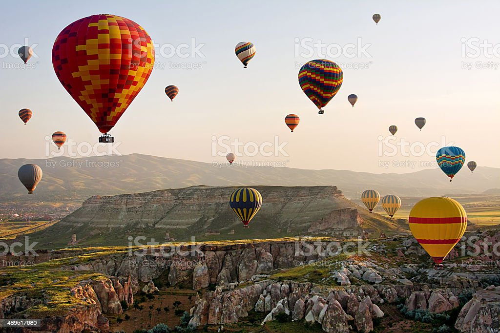 The great tourist attraction of Cappadocia - balloon flight. Turkey stock photo