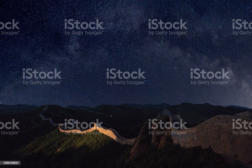 The Great wall and the awesome the milky way stock photo