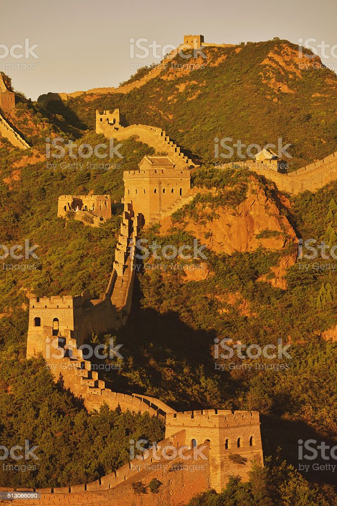 The Great Wall at Sunset stock photo