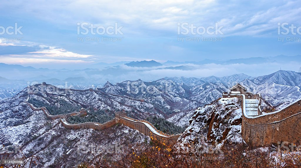 The Great Wall covered with snow. stock photo