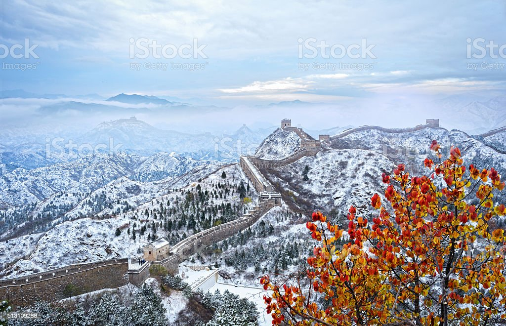 The Great Wall covered with snow stock photo