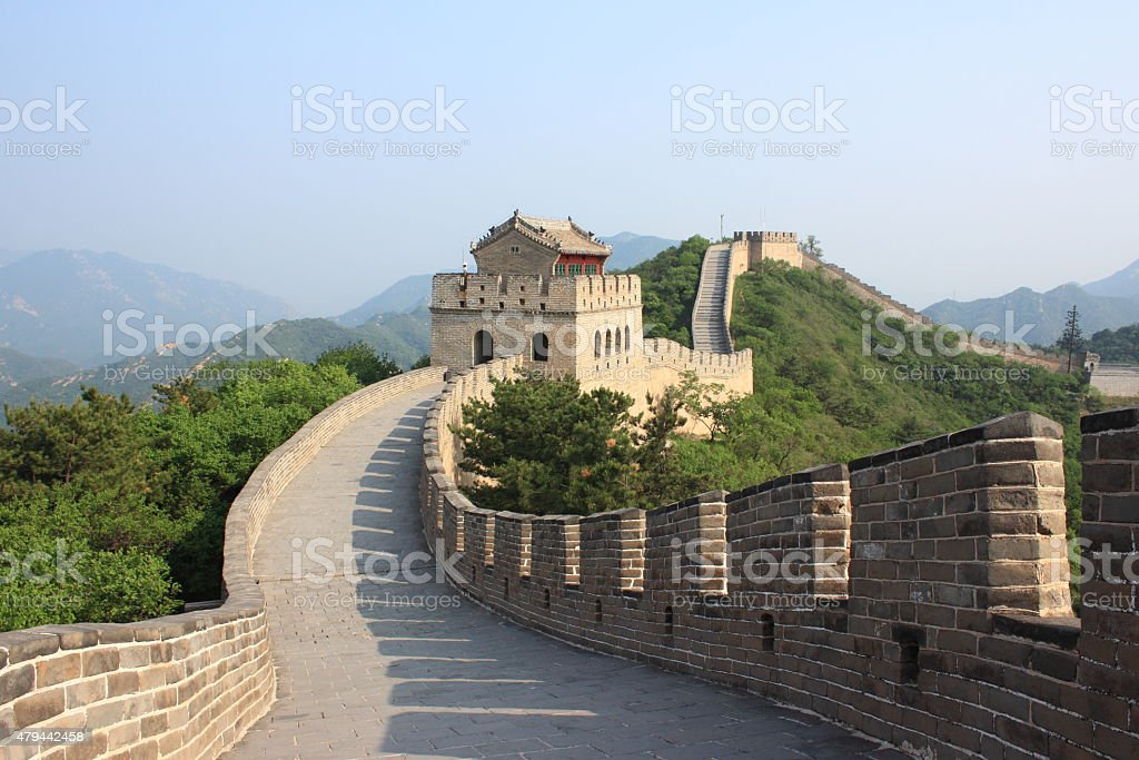 The Great Wall in summer, Badaling, China stock photo